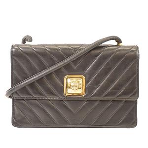 Auth Chanel Chevron (V Stitch) W Flap Chain Shoulder Women's Leather Shoulder Bag Black