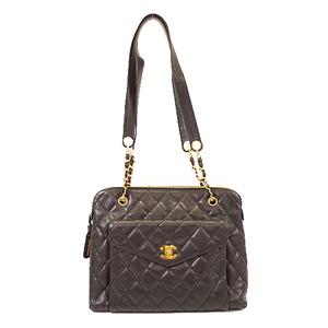 Auth Chanel Matelasse Tote Bag Women's Caviar Leather Tote Bag Black