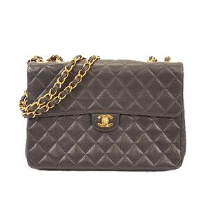 Auth Chanel Deca Matrasse W Chain Shoulder Women's Leather Shoulder Bag Black