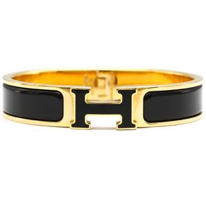 エルメス(Hermes) クリッククラックH バングル ブラック,ゴールド ゴールドプレーティング(GP)