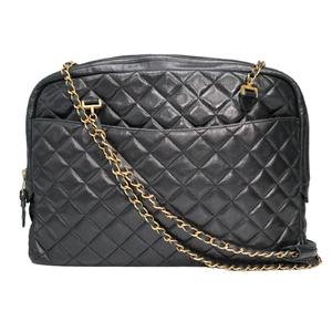 Chanel Lambskin Matrasse Women's Shoulder Bag Black