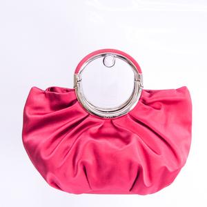 クリスチャン・ディオール(Christian Dior) リングハンドル レディース サテン ハンドバッグ ピンク