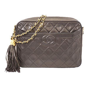 Auth Chanel Matelasse Shoulder Bag With Fringe Women's Leather  Black