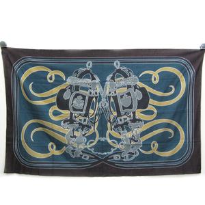 エルメス(Hermes) PAGNE IMPRIME BRIDES DE GALA MOUSSELINE 102513M 13 レディース コットン スカーフ ベージュ,ブルーグリーン,ダークブラウン,グレー