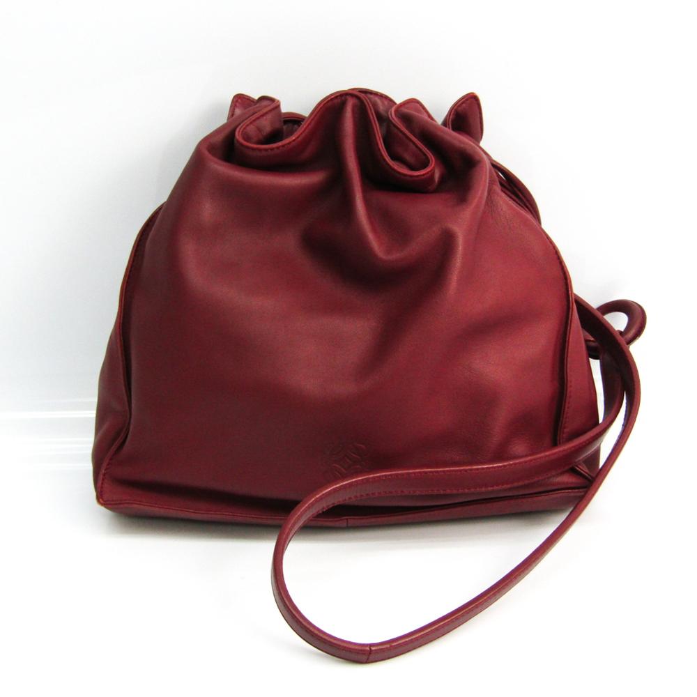 ロエベ(Loewe) アナグラム 巾着 レディース ナッパ ショルダーバッグ ボルドー