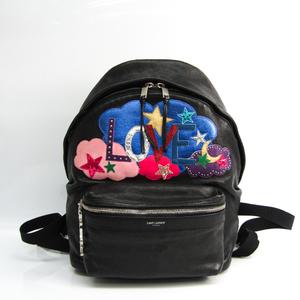 Saint Laurent 454319 Women's Leather,Canvas Backpack Black,Multi-color