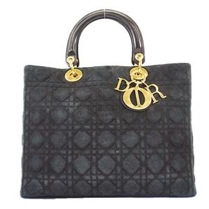 Christian Dior Lady Dior Handbag Women's Suede Handbag Black