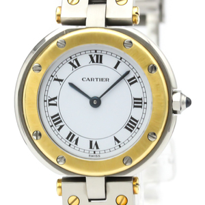 Cartier Santos Round Quartz Stainless Steel,Yellow Gold (18K) Women's Dress Watch