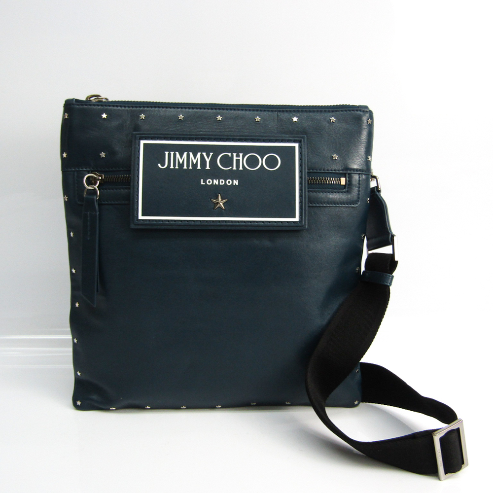 Jimmy Choo KIMI N / S Unisex Leather Studded Shoulder Bag Black,Navy