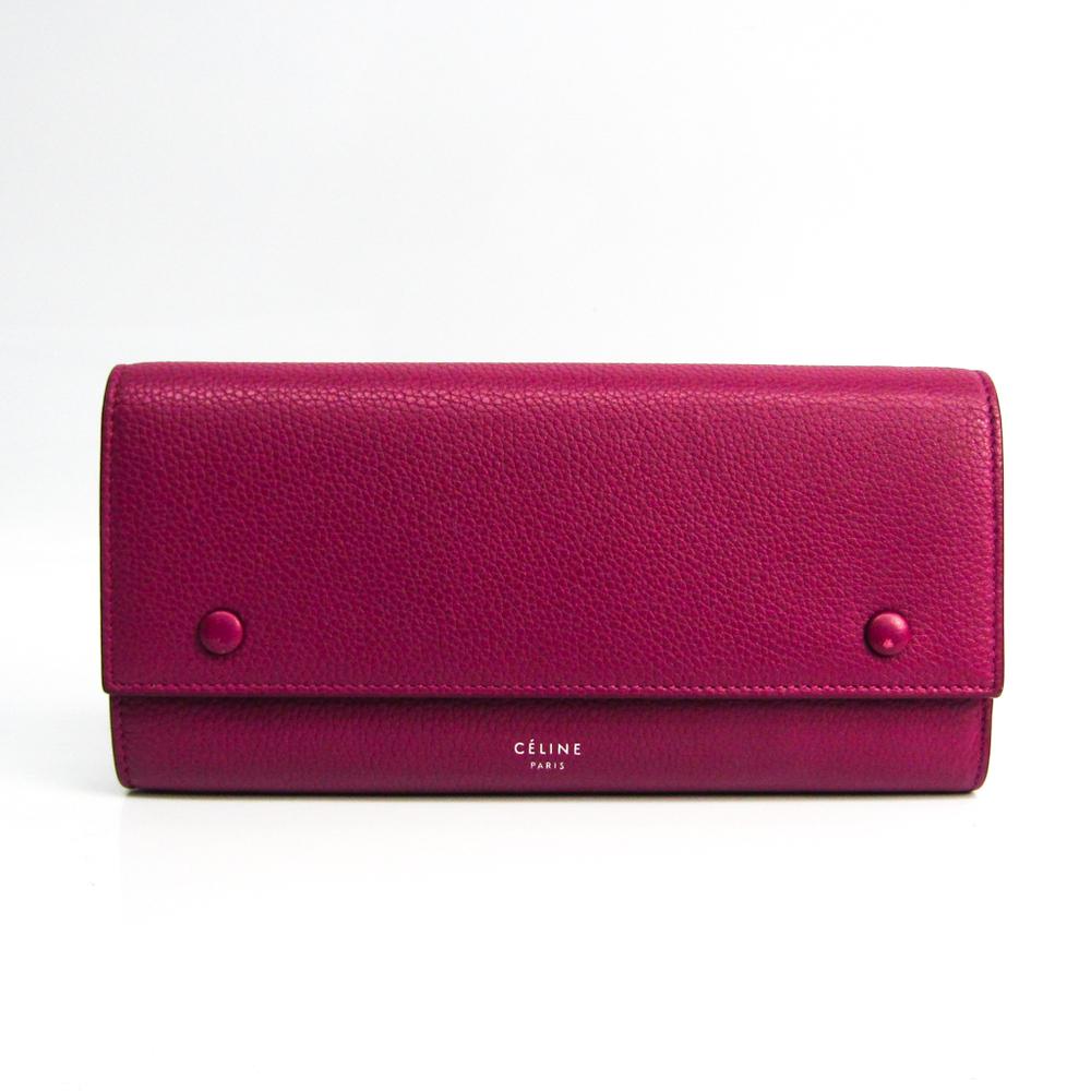 Celine Large Flap Multifunction 101673 Women's Leather Long Wallet (bi-fold) Purple