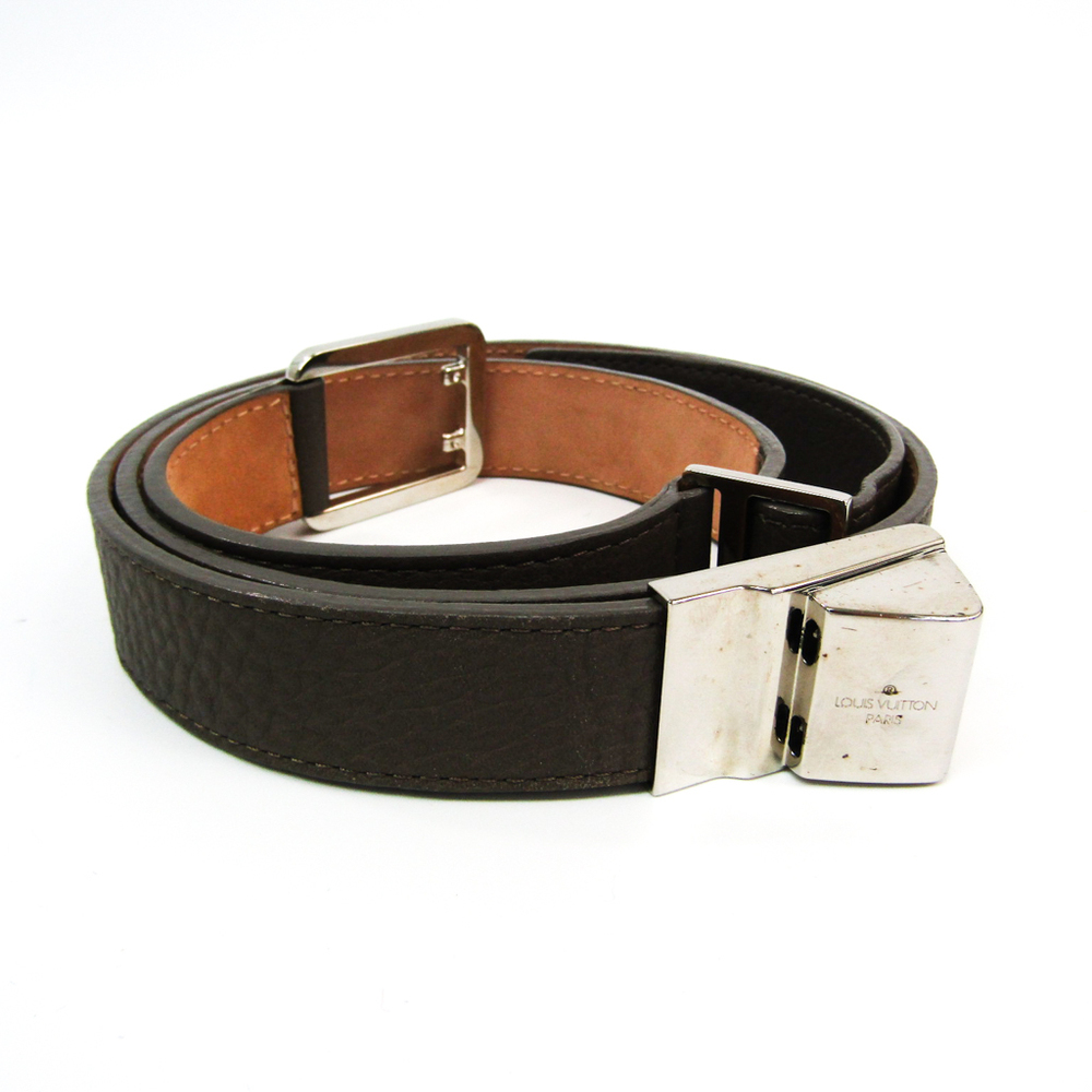 Louis Vuitton Saint Tulle M9693 Men's Leather Standard Belt Gray,Silver 90