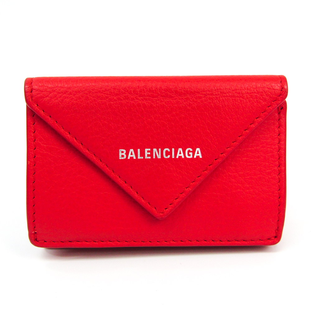 Balenciaga Paper Mini Wallet 391446 Women's Leather Wallet (tri-fold) Red Color