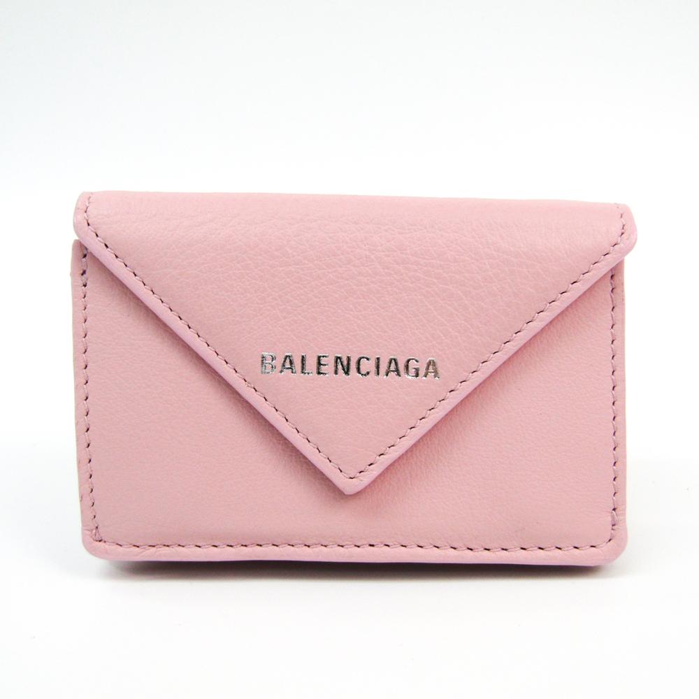 バレンシアガ(Balenciaga) ペーパー ミニウォレット 391446 レディース レザー 財布(三つ折り) ライトピンク