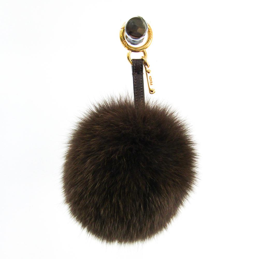 Fendi Fur,Leather,Metal Handbag Charm Dark Brown,Gold Pompon charm key ring key chain