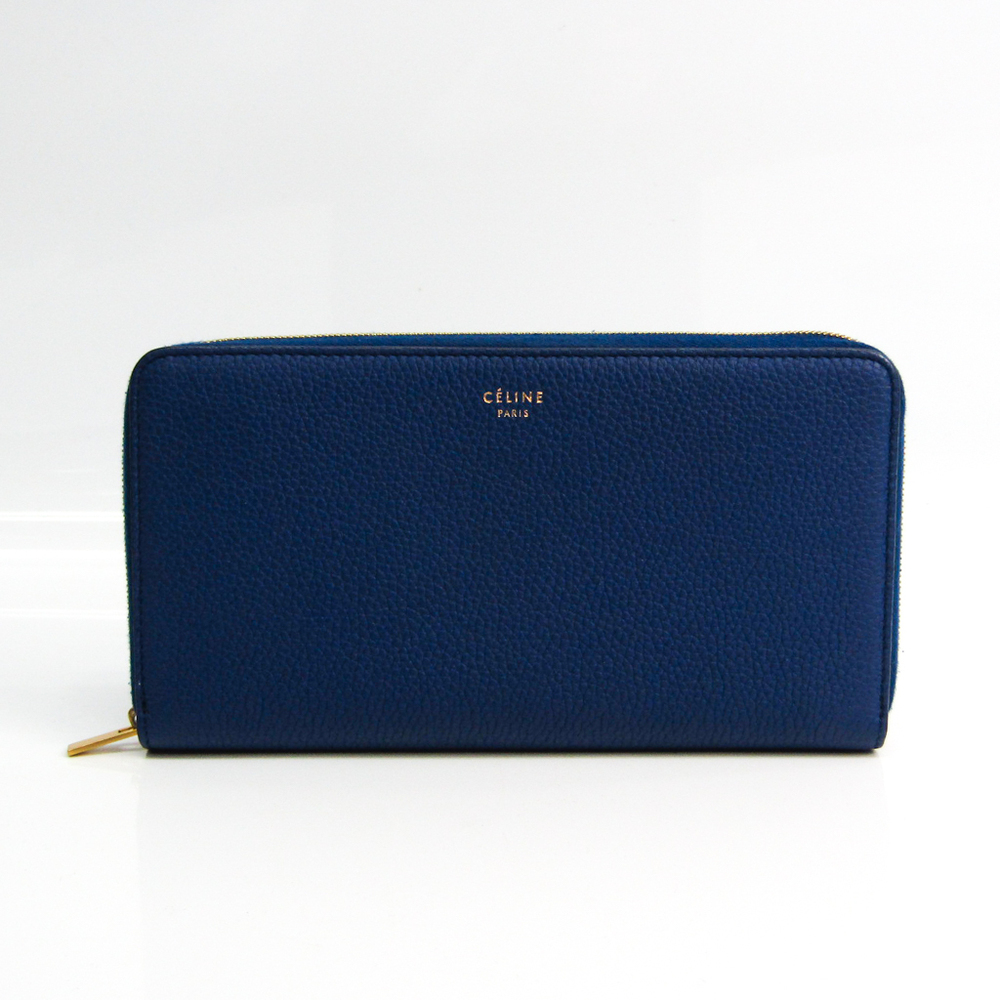 Celine Large Zipped Wallet Unisex Leather Long Wallet (bi-fold) Royal Blue