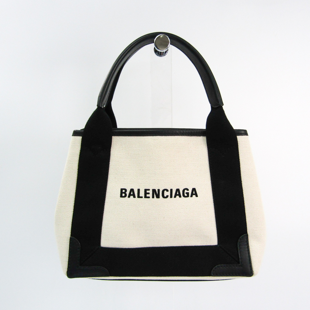 Balenciaga Navy Cabas XS 390346 Women's Canvas,Leather Handbag Black,Ivory