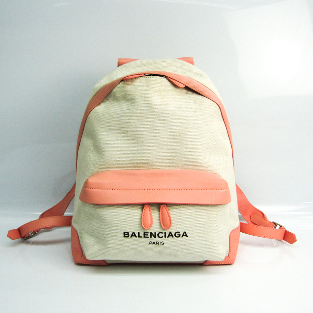 Balenciaga NAVY BACKPACK 409010 Women's Leather,Canvas Backpack Ivory,Light Pink