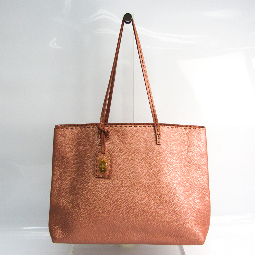 Fendi Selleria 8BH126 Women's Leather Tote Bag Metallic Pink
