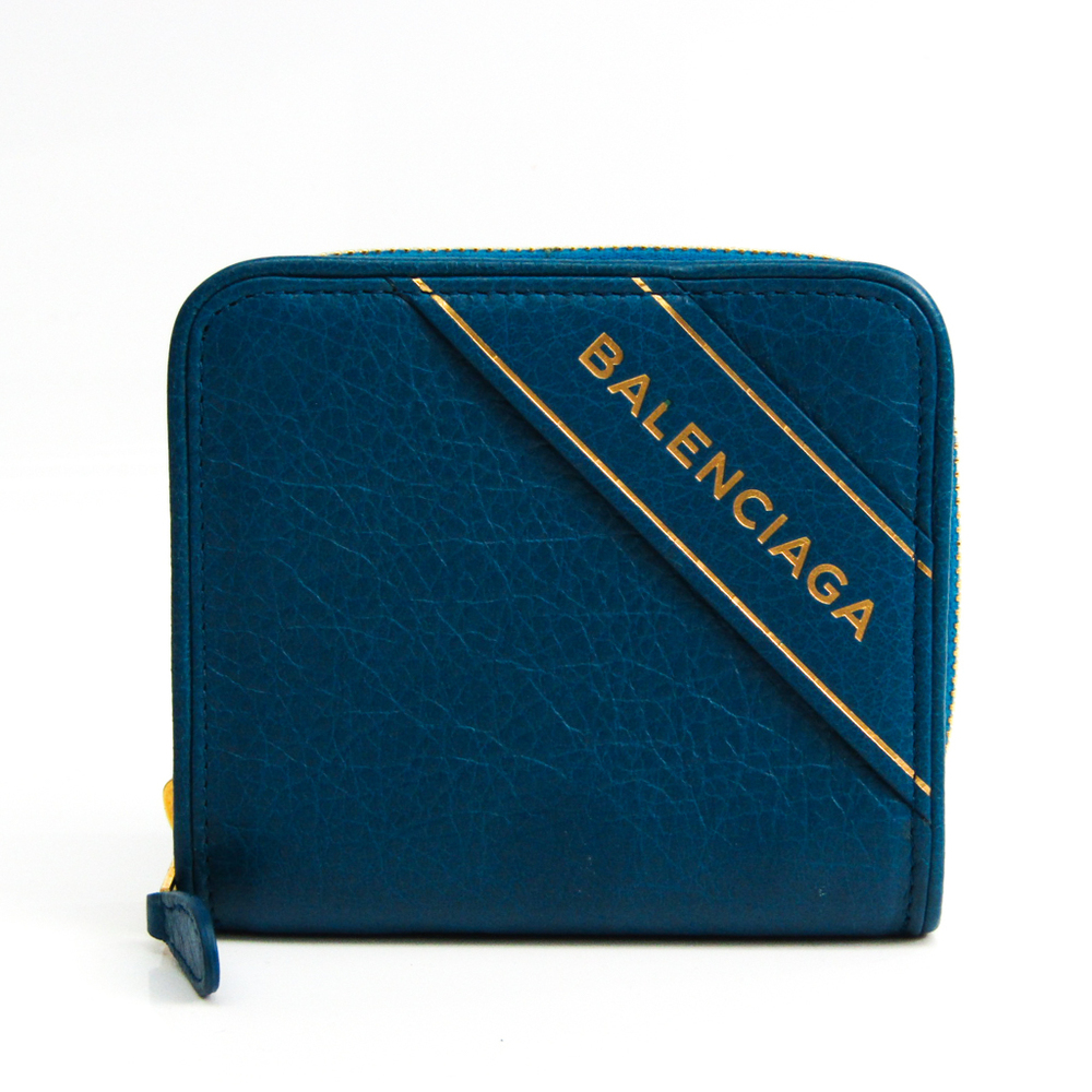 Balenciaga BLANKET BILLFOLD 466877 Unisex Leather Wallet (bi-fold) Dark Blue,Gold
