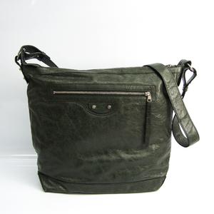 Balenciaga Day 272409 Women's Leather Shoulder Bag Khaki