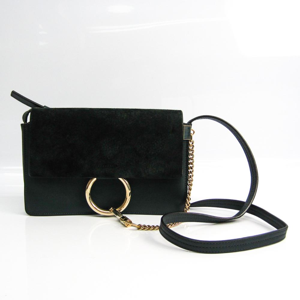 Chloé FAYE Women's Leather,Suede Shoulder Bag Dark Green