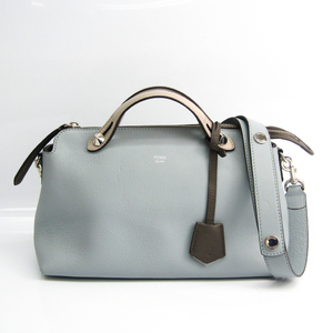Fendi By The Way Medium 8BL124-Z1C Women's Leather Handbag,Shoulder Bag Gray,Light Beige,Light Blue