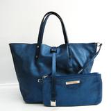 Tiffany Reversible Women's Suede,Leather Handbag Metallic Blue,Tiffany Blue