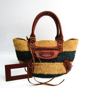 Balenciaga Raffia Basket Bag 236741 Women's Straw,Leather Handbag Beige,Dark Brown,Navy