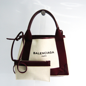 Balenciaga Navy Cabas XS 390346 Women's Canvas,Leather Handbag,Shoulder Bag Bordeaux,Off-white