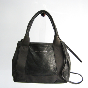Balenciaga Navy Cabas XS 390346 Women's Canvas,Leather Handbag,Shoulder Bag Dark Gray