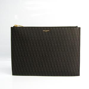 Saint Laurent Classic Toile 420273 Men's Coated Canvas Clutch Bag Black,Dark Brown