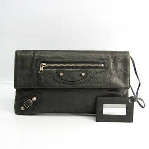 Balenciaga Giant Envelope 282011 Unisex Leather Clutch Bag Gray