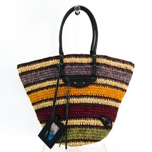 Balenciaga Raffia 286370 Women's Leather,Straw Handbag Multi-color,Navy