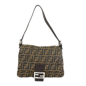 Fendi Zucca Mamma Bucket Women's Canvas Handbag Shoulder Bag Beige