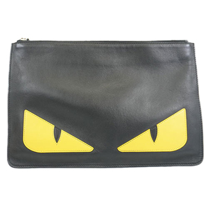 Auth Fendi Bag Bugs Men,Women,Unisex Leather Clutch Bag Black