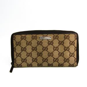 グッチ(Gucci) 112724 ユニセックス GGキャンバス カーフスキン 長財布(二つ折り) ベージュ,ブラウン