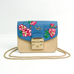 Furla Metropolis Customized Flap Flower Embroidery Mini Women's Leather Shoulder Bag Beige,Blue,Multi-color