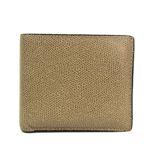 Valextra V8L23 Unisex Leather Wallet (bi-fold) Beige