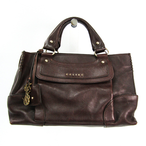 Celine Boogie 134023 Women's Leather Handbag Dark Brown