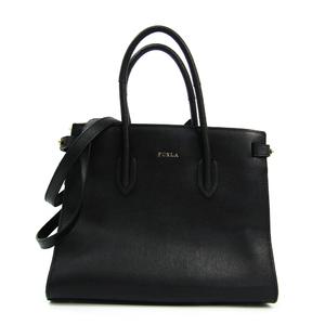Furla PIN S TOTE 942235 Women's Leather Handbag,Shoulder Bag Black