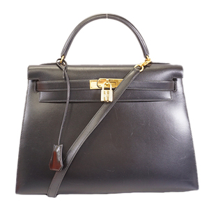 Auth Hermes Kelly 2WAY Bag Kelly 32 W Engraved Women's Box Calf Leather Handbag,