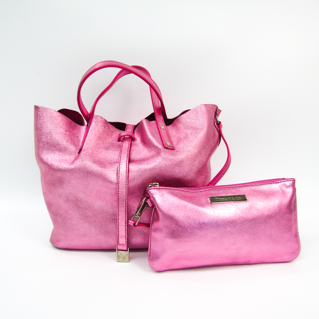 Tiffany Reversible Women's Leather Tote Bag Metallic Pink
