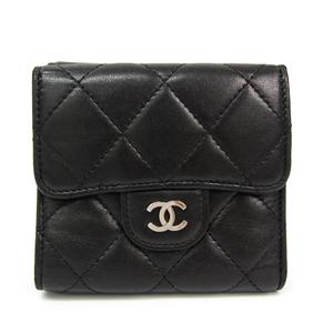シャネル(Chanel) マトラッセ レディース  ラムスキン 財布(三つ折り) ブラック