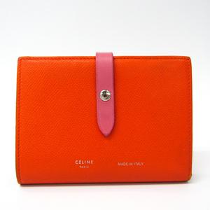 セリーヌ(Celine) ミディアム ストラップ ウォレット バイカラー レディース レザー 中財布(二つ折り) オレンジ,ピンク