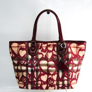 Burberry Heart Women's PVC,Patent Leather Tote Bag Beige,Bordeaux