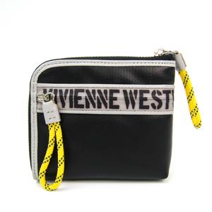 ヴィヴィアン・ウエストウッド(Vivienne Westwood) ショート L字ジップ ロゴ オーブ プリント VWK380 メンズ レザー,ポリビニール 財布(二つ折り) ブラック,グレー