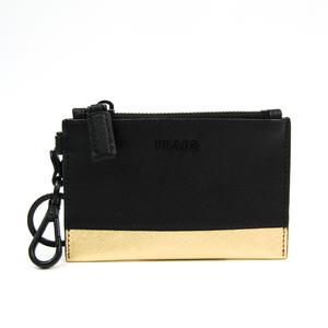 プラダ(Prada) Saffiano ACTIVE カードケース 2TT080 ユニセックス Saffiano 小銭入れ・コインケース ブラック,ゴールド