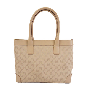 Auth Gucci GG Canvas Tote Bag120897 Women's GG Canvas,Leather Tote Bag Beige
