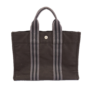 Auth Hermes Fool Tote PM Women's Canvas Tote Bag Black