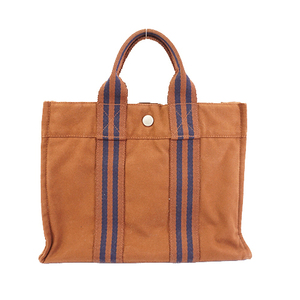 Auth Hermes Fool Tote PM Women's Canvas Tote Bag Brown